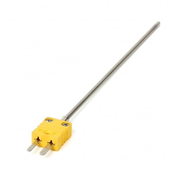 Mantelthermoelement NiCr-Ni Typ K bis 1150 °C mit Miniaturstecker